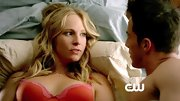 Candice Accola was a vampire vixen in a sexy red bra with pink lace trim.