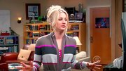 Kaley Cuoco kicked back in style on 'The Big Bang Theory' in a feminine cashmere striped cardigan.