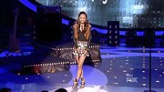 Jessica Sanchez gave her funky sequined tribal print mini skirt an urban edge with a pair of sneakers.