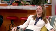 Erinn Hayes kicked back on 'Guys with Kids' in a sophisticated contrast-collar blouse.