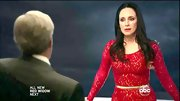 Madeleine Stowe chose this red lace frock with a golden belt for her chic and sophisticated look on 'Revenge.'