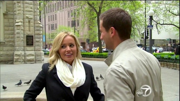 Is it just us, or are Emily Maynard's pearly whites even brighter than her scarf?