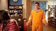 Jake Johnson sported a tangerine track suit on 'New Girl' and definitely got some giggles.