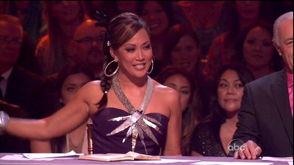Carrie Ann Inaba may not have hit the dance floor, but she was definitely TV ready in this bedazzled purple halter dress.