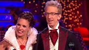 Professional ballroom dancer Sharna Burgess pinned her hair up in a formal updo for this dance with comedian Andy Dick.
