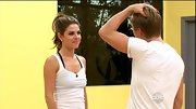 Maria Menounos saved the dramatic wardrobe for the dance floor, rehearsing in a simple white tank with an exposed black bra.