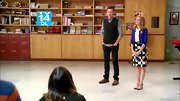 Jayma Mays popped in a blue, black, and white geometric skirt on 'Glee.'