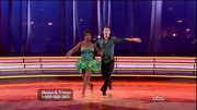 Go Gladys Knight, go! The singer hit the dance floor in style wearing a green corset dress with a flouncy skirt.