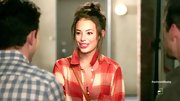 To match her effortless outfit, Chloe Bridges swept her hair up in a messy top knot with face-framing tendrils.