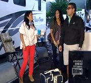 Kathy Wakile brightened up he RV style with a pair of trendy red skinny jeans.