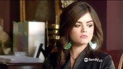 Lucy Hale has worn her fair share of feathered earrings on 'Pretty Little Liars,' but she mixed things up with these peacock painted hoops.