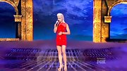 A newly blond Cece Frey hit the 'X Factor' stage in a sexy red dress with mesh detailing.
