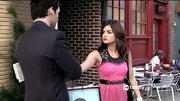 Lucy gave classic romance a rocker edge by wearing her hot pink lace corset dress over an embellished gray tank on 'Pretty Little Liars.'