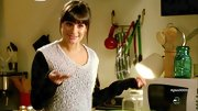 Lea Michele opted for a two-toned loose-fitting sweater for her look on 'Glee.'